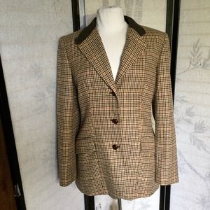 Ann Taylor houndstooth suede elbow jacket 10